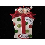 Giftbox Couple with Two Dogs Personalized Christmas Ornament -Free Personalizing