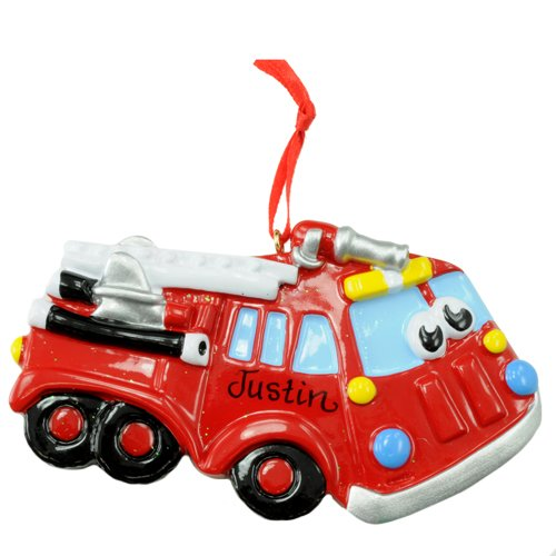 Rudolph and Me Red Firetruck Ornament