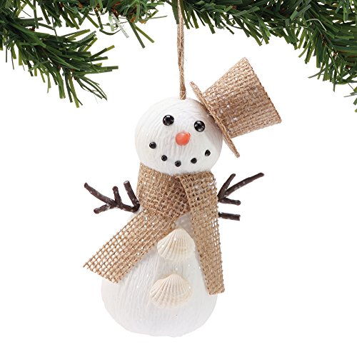 Department 56 Gone to The Beach Burlap Snowman, 6″ Hanging Ornament, Multicolor