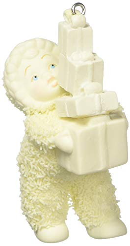 "Department 56 Snowbabies Peace Collection ""Lots of Gifts"" Porcelain Hanging Ornament, 2.25″"