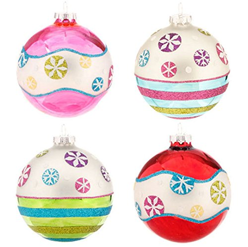 RAZ Imports – 4 Inch Glittered Snowflake Ball Ornaments – 2 Sets of 4 (8 Ornaments)