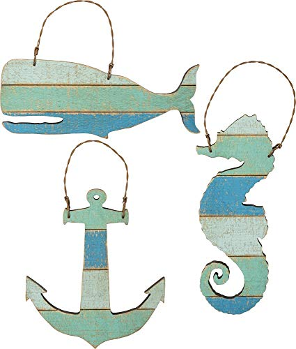 Primitives by Kathy Slat Sea Creatures Hanging Ornament Set of 3