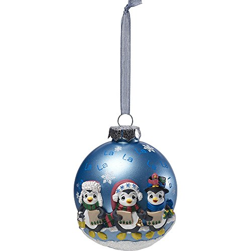 Precious Moments Caroling Penguins Glass Ball Ornament With Resin Decorations 171412