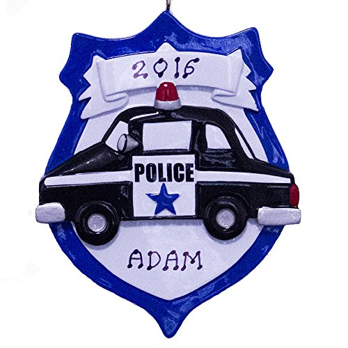 Rudolph and Me Personalized Police Officer Car Ornament