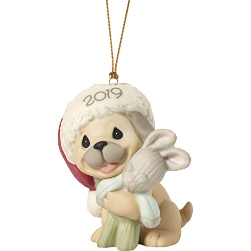 Precious Moments Holiday Pug Hugs 2019 Dated Bisque Porcelain Dog Christmas 191008 Ornament, One Size, Multi