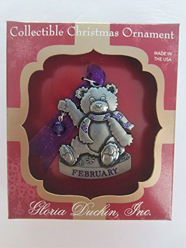 Gloria Duchin Jewelry for Your Tree Christmas February Birthstone Bear Ornament