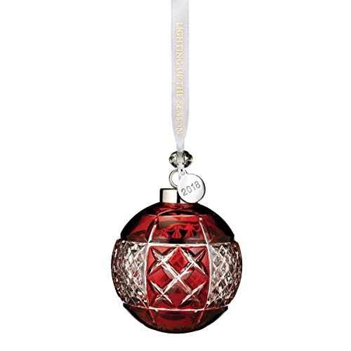 Waterford Ruby Ball Ornament 3.3″