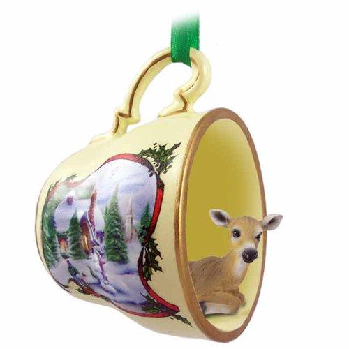 Conversation Concepts Deer Doe Tea Cup Snowman Holiday Ornament