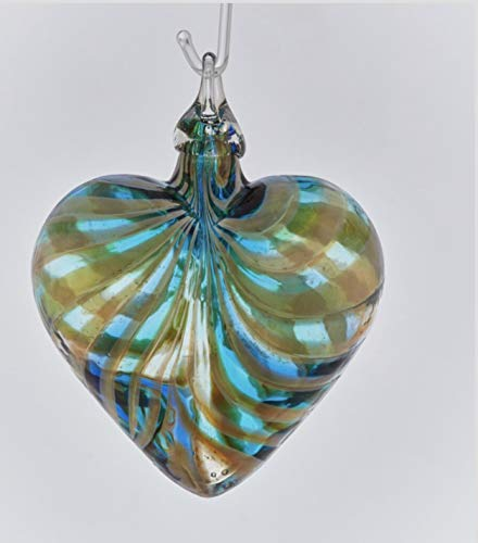 Glass Eye Studio Marina Blue Designer Heart Ornament