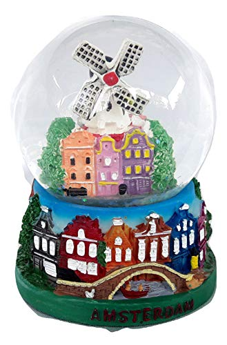 Souvenir Snowdome Netherlands Holland Amsterdam Snowglobe Buildings&Windmill