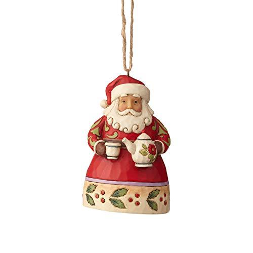 Enesco Jim Shore Heartwood Creek Mini Santa with Teapot Hanging Ornament, 3.75″, Multicolor
