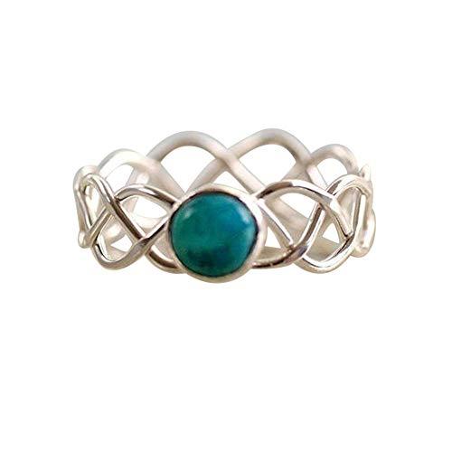 HIRIRI Turquoise Gemstone Ring Stylish Accessories Wedding Engagement Present Noble Elegant