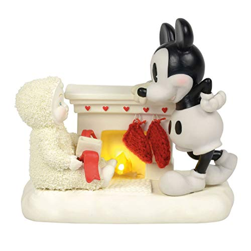 "Department 56 Snowbabies and Disney ""At the Mantel with Mickey"" Porcelain Figurine, 4.75"""