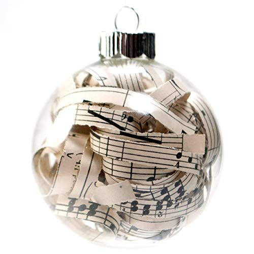 Vintage Sheet Music Christmas Ornament – 2.62 Inch Glass Ornament with 1/4 Inch Strips