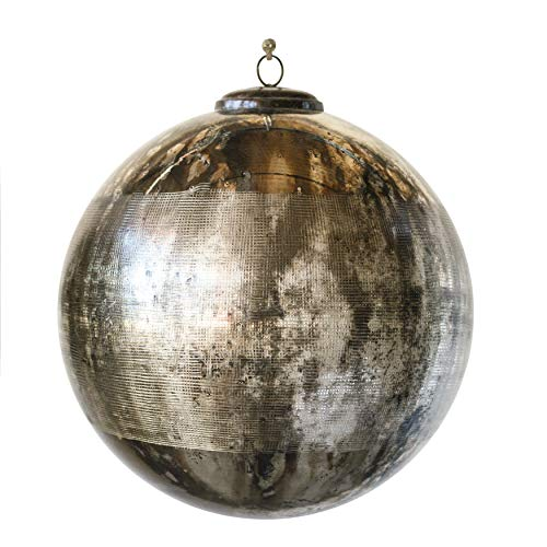 Creative Co-Op 10 Inch Glass Ornament with Antique Brass Cap, Black