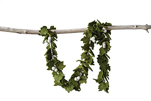 Creative Co-Op Green Wool Felt Leaf White Berries Garland,
