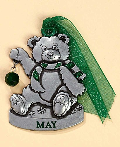 Gloria Duchin Birthstone Bear-May Christmas Ornament, Silver and Red