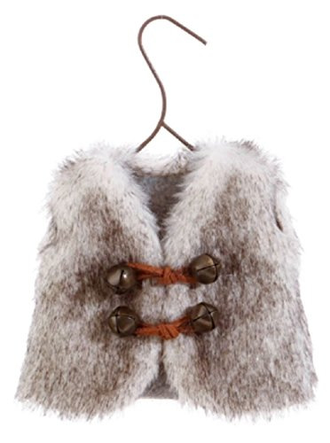 Raz Miniature Fur Winter Ski Vest Christmas Ornament BUYER CHOICE WHITE GREY (grey)