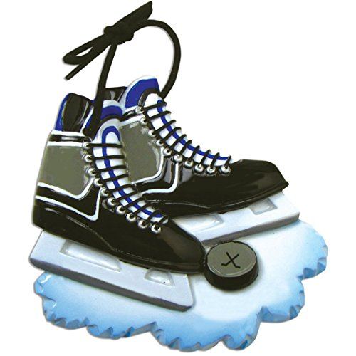Personalized Hockey Skates Christmas Tree Ornament 2019 – Black Ice Shoe Blades with Ball Athlete Team Coach Hobby School Profession Winter Sport Gender Neutral Gift Year – Free Customization