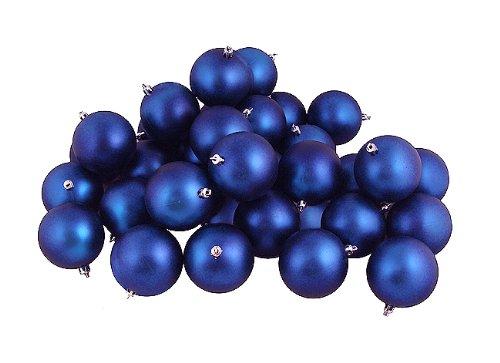 Vickerman 31453943 60 Count Matte Royal Blue Shatterproof Christmas Ball Ornaments, 2.5″