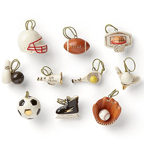 Lenox Dreaming Of Sports Miniature Tree Ornaments Set 10 Soccer Golf Football Baseball Skating