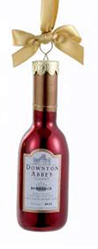 Kurt Adler 4.5″ Downton Abbey Shiny Red Glass Claret Wine Bottle Christmas Ornament