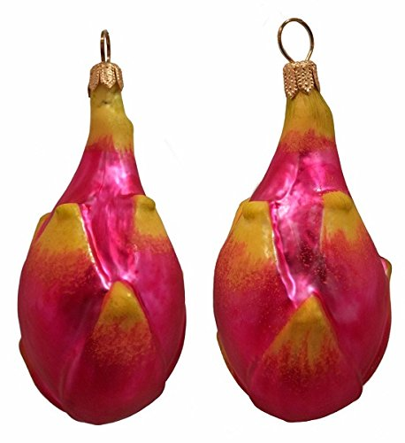 Pinnacle Peak Trading Company Pitaya Dragon Fruit Polish Blown Glass Christmas Ornament Set of 2 Decorations
