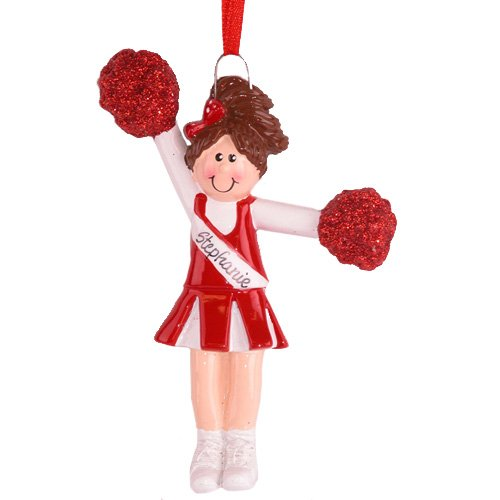 Rudolph and Me Brunette Cheerleader Girl in Red Uniform with Pom Poms Christmas Ornament