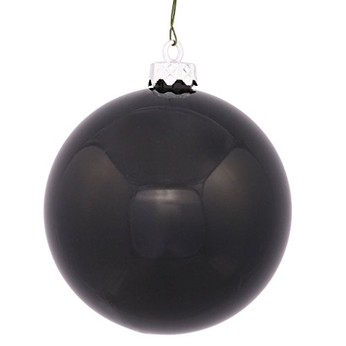 Vickerman Shiny Finish Seamless Shatterproof Christmas Ball Ornament, UV Resistant with Drilled Cap, 8″, Black
