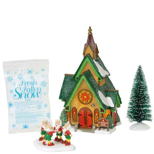 Department 56 North Pole Village Series St. Nicholas Chapel Lit Building and Accessories, 8.25″, Multicolor