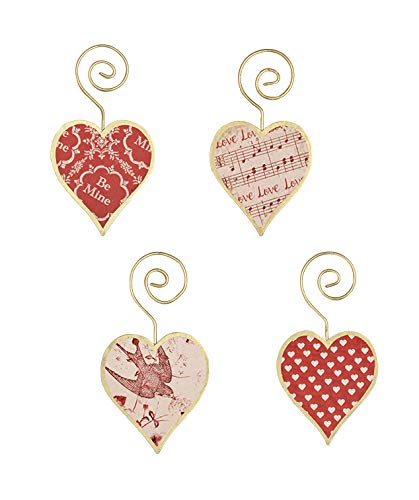 Bethany Lowe Tin Heart Valentines Day 4in by 2.25in Ornaments Set of 4