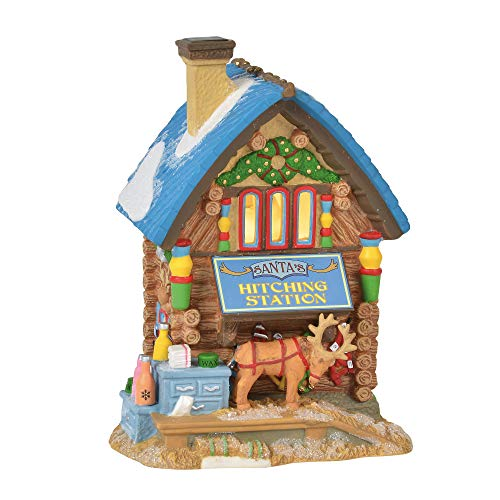 Department 56 North Pole Village Series Santa's Hitching Station Lit Building 6.75″ Multicolor