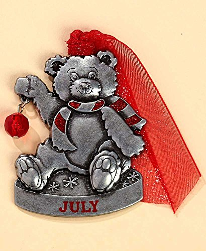 Gloria Duchin Birthstone Bear – July Christmas Ornament, Small, Silver and Red