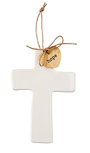 Mud Pie Ceramic Cross Sentiment Decorative Ornament,