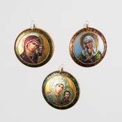 One Hundred 80 Degrees Madonna Medallion Ornament, 3 Asst, Glass