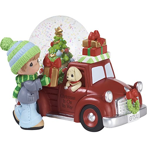 """Precious Moments"""" Christmas is On Its Way Red Truck Snow Globe, Multicolor"""