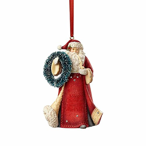 Enesco HRTCH Santa with Wreath Hanging Ornament, Multicolor
