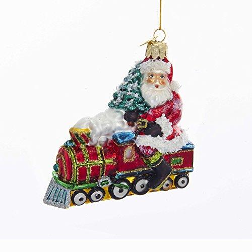 Kurt Adler Kurt S. Adler 4-Inch Noble Gems Glass Santa on Train Ornament