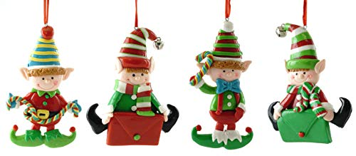 Gerson Santa's Elves Clay Dough Hanging Ornaments – Set of 4