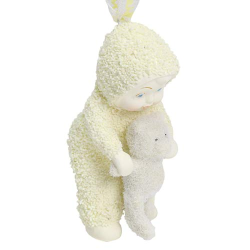 "Department 56 Snowbabies ""Baby with Flocked Bear"" Porcelain Hanging Ornament, 3″"