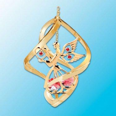24k Gold Angel Spiral Ornament – Red Swarovski Crystal
