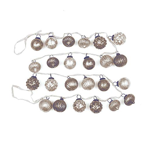Creative Co-op Distressed White & Grey Embossed Mercury Glass Ornament Fabric String Garland, Multicolor