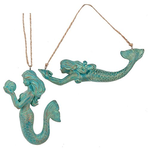 Teal Blue Mermaids Christmas Holiday Ornaments Set of 2 Resin