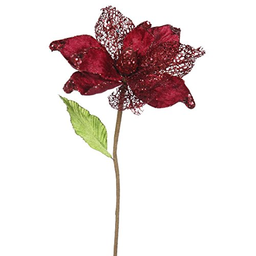 Vickerman QG161505 Magnolia with 8″ Flower Head & Paper wrapped wire Stem in 6/Bag, 22″, Burgundy