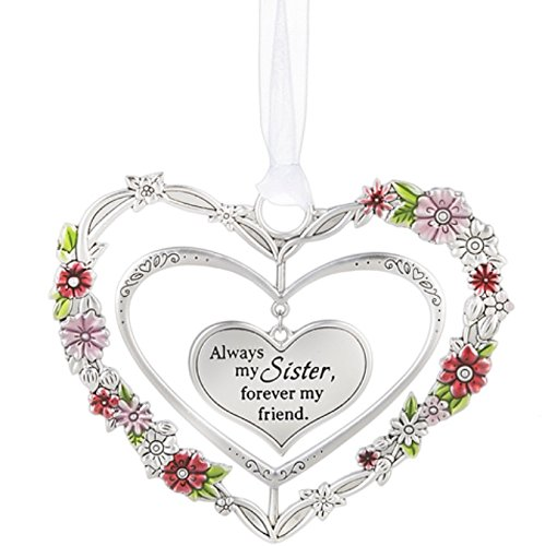 Ganz Silver Heart Ornaments with Flowers (Sister)