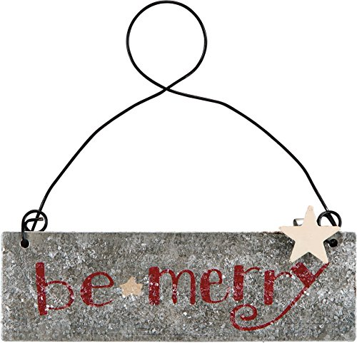 Primitives by Kathy PBK Christmas Decor – BE Merry Silver Red Tin Ornament