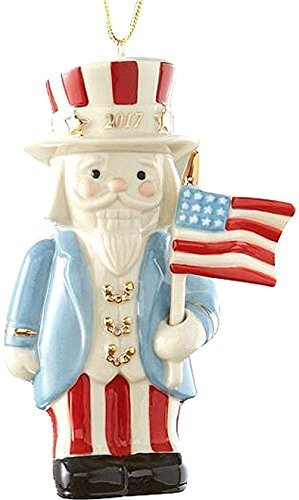 Lenox UNCLE SAM with American Flag 2017 Annual Nutcracker Patriotic Xmas Ornament US Flag