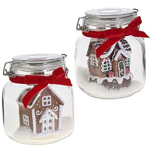 RAZ Imports Set of 2-6″ Mason JAR Gingerbread House Ornaments 3801932