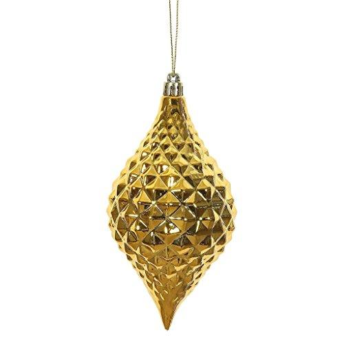Vickerman 476642-6 Honey Gold Shiny Diamond Drop Christmas Tree Ornament (4 pack) (N174937D)