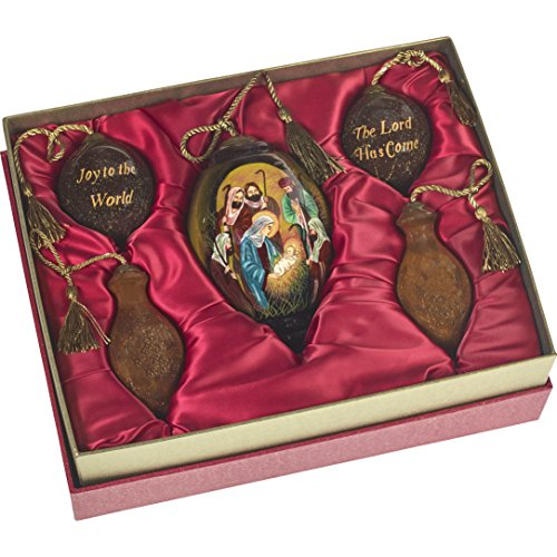 Ne'Qwa Art Hand Painted Blown Glass Holy Nativity Gift Set (Set of 5), Multicolor